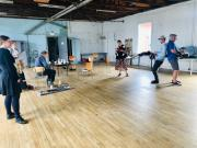 """Rehearsing """"Hormondagbogen"""" involves improvisations based on a multitude of different sources, including medical texts. These photos are from a workshop held in the Summer of 2020 (photos: Katrina Bugaj)."""