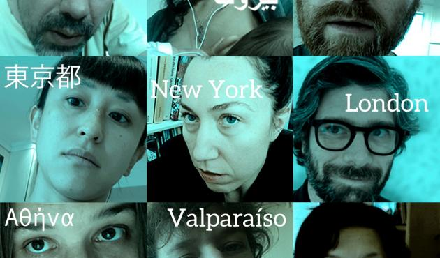 """Screenshot from the online performance """"Los Juntos"""" that included artists from nine different countries. Katrina Bugaj is seen at the center (photo: Juan Ayala)."""